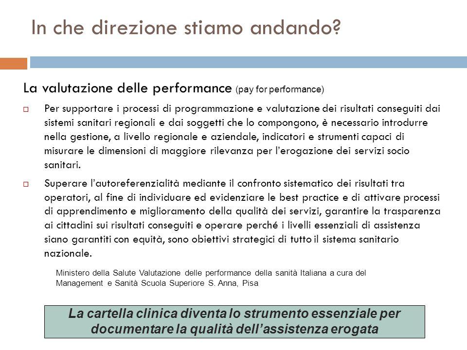 In che direzione stiamo andando? La valutazione delle performance (pay for performance) Per supportare i processi di programmazione e valutazione dei