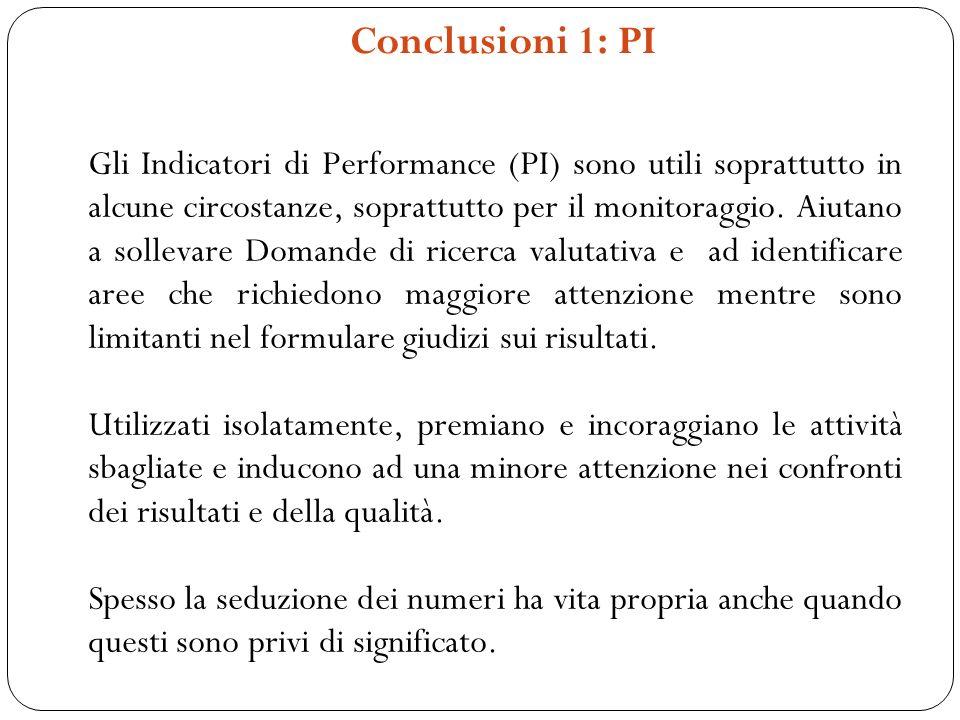 Conclusioni 1: PI Gli Indicatori di Performance (PI) sono utili soprattutto in alcune circostanze, soprattutto per il monitoraggio. Aiutano a sollevar