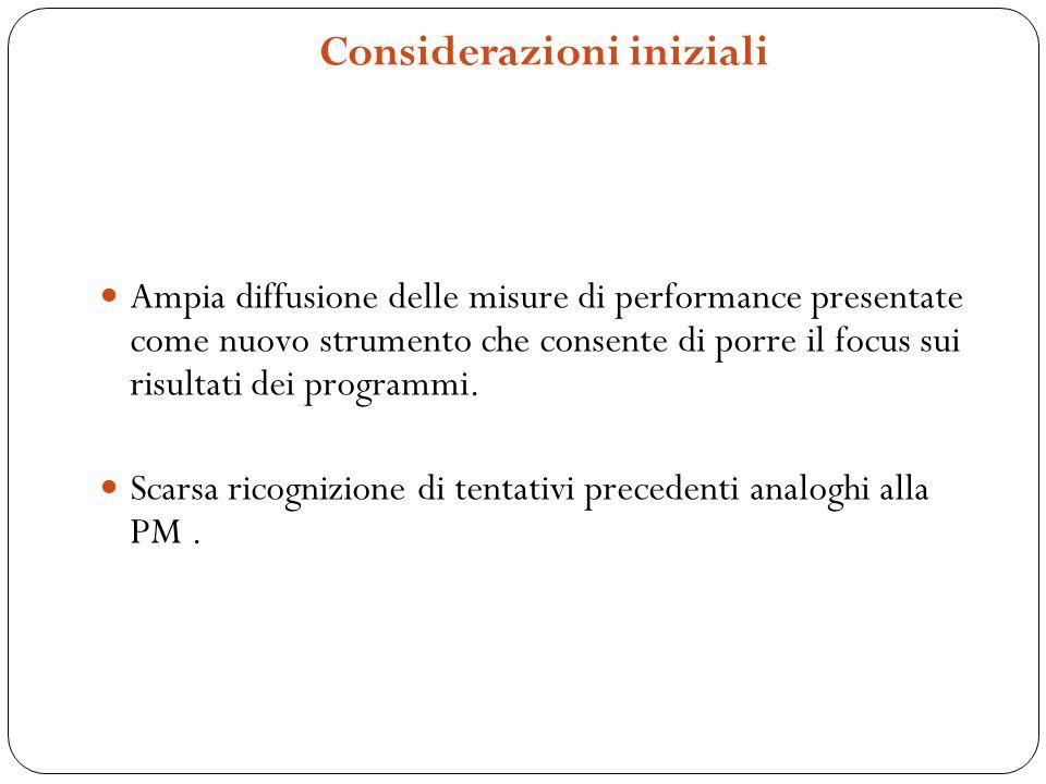 Considerazioni iniziali Ampia diffusione delle misure di performance presentate come nuovo strumento che consente di porre il focus sui risultati dei programmi.