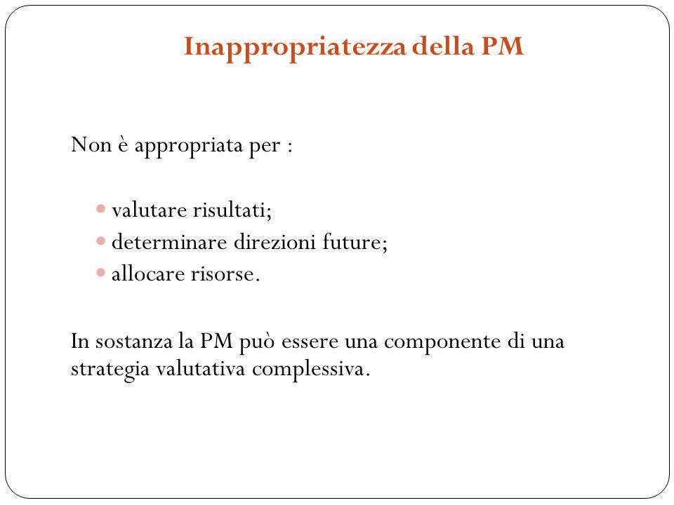 Inappropriatezza della PM Non è appropriata per : valutare risultati; determinare direzioni future; allocare risorse. In sostanza la PM può essere una