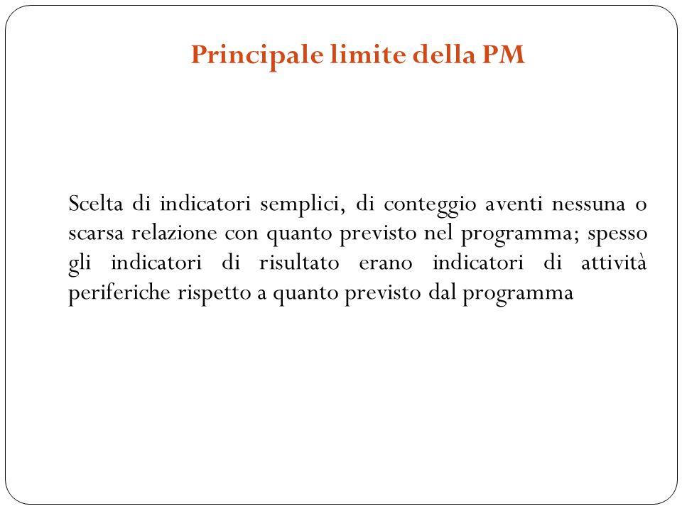 Principale limite della PM Scelta di indicatori semplici, di conteggio aventi nessuna o scarsa relazione con quanto previsto nel programma; spesso gli indicatori di risultato erano indicatori di attività periferiche rispetto a quanto previsto dal programma