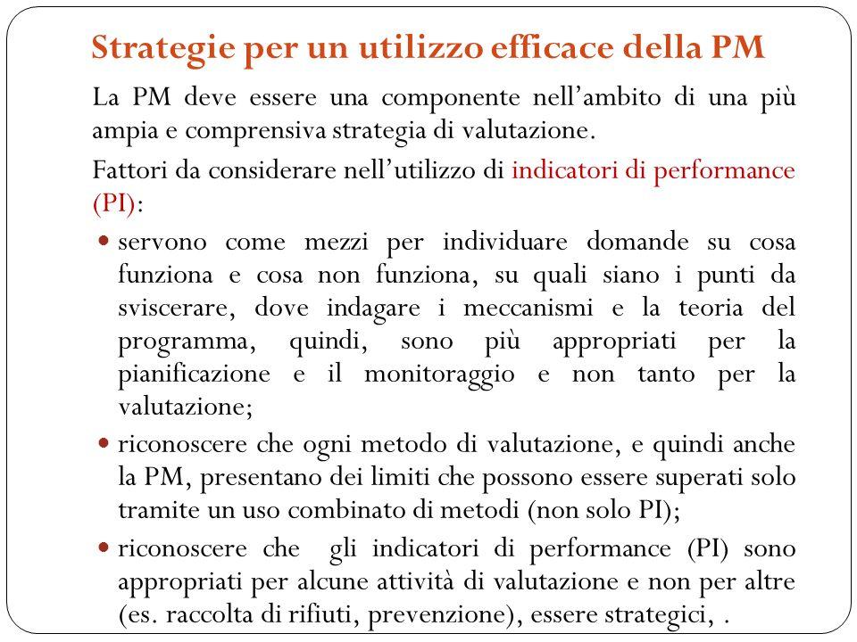 Strategie per un utilizzo efficace della PM La PM deve essere una componente nellambito di una più ampia e comprensiva strategia di valutazione.