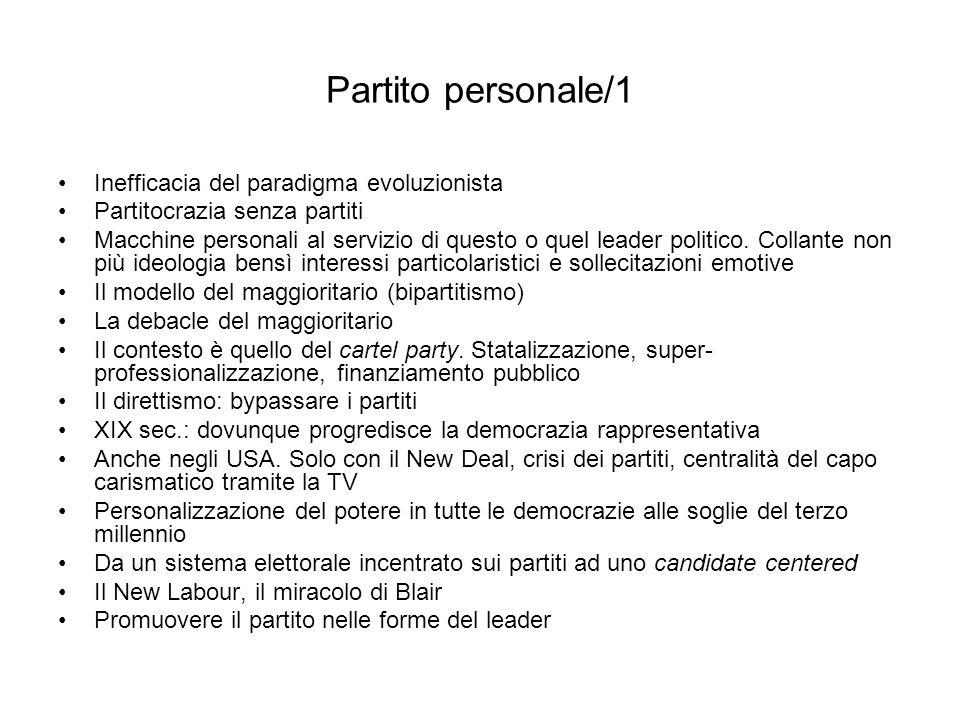 Partito personale/1 Inefficacia del paradigma evoluzionista Partitocrazia senza partiti Macchine personali al servizio di questo o quel leader politic