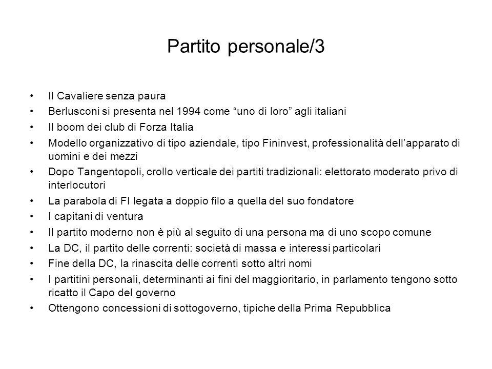 Partito personale/3 Il Cavaliere senza paura Berlusconi si presenta nel 1994 come uno di loro agli italiani Il boom dei club di Forza Italia Modello o