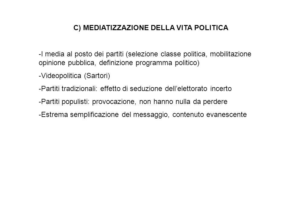 C) MEDIATIZZAZIONE DELLA VITA POLITICA - I media al posto dei partiti (selezione classe politica, mobilitazione opinione pubblica, definizione program