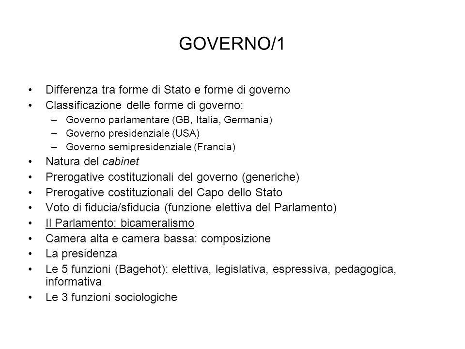 GOVERNO/1 Differenza tra forme di Stato e forme di governo Classificazione delle forme di governo: –Governo parlamentare (GB, Italia, Germania) –Gover