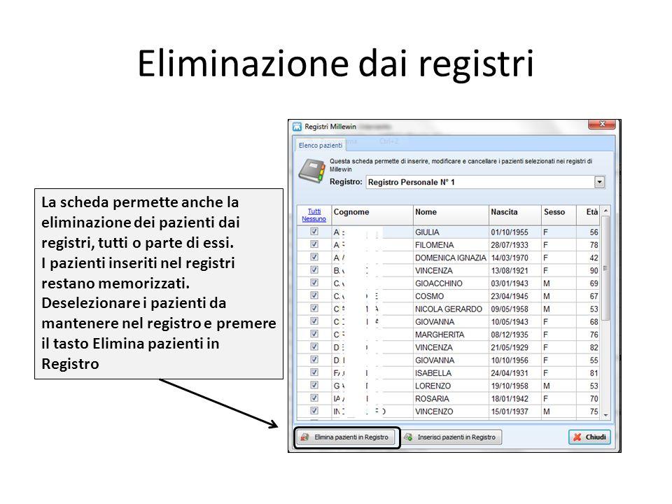 Eliminazione dai registri La scheda permette anche la eliminazione dei pazienti dai registri, tutti o parte di essi. I pazienti inseriti nel registri