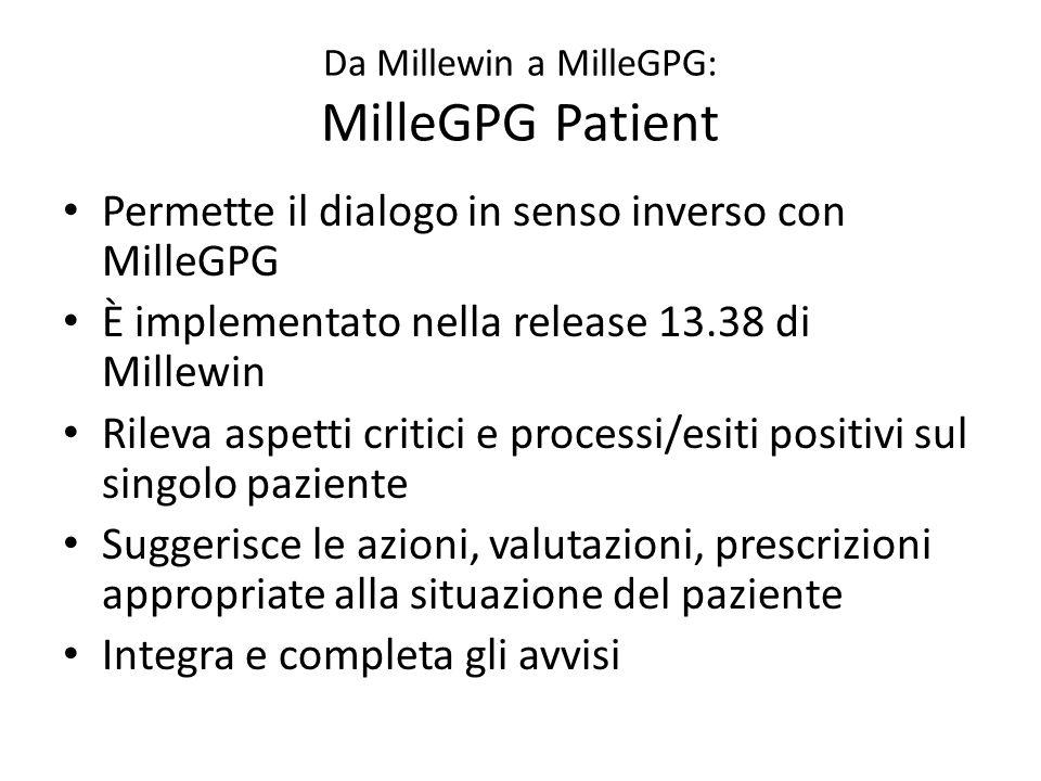 Da Millewin a MilleGPG: MilleGPG Patient Permette il dialogo in senso inverso con MilleGPG È implementato nella release 13.38 di Millewin Rileva aspet