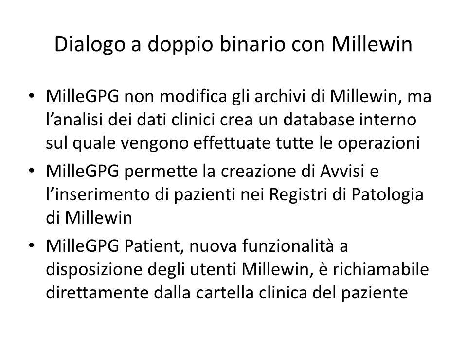 Dialogo a doppio binario con Millewin MilleGPG non modifica gli archivi di Millewin, ma lanalisi dei dati clinici crea un database interno sul quale vengono effettuate tutte le operazioni MilleGPG permette la creazione di Avvisi e linserimento di pazienti nei Registri di Patologia di Millewin MilleGPG Patient, nuova funzionalità a disposizione degli utenti Millewin, è richiamabile direttamente dalla cartella clinica del paziente