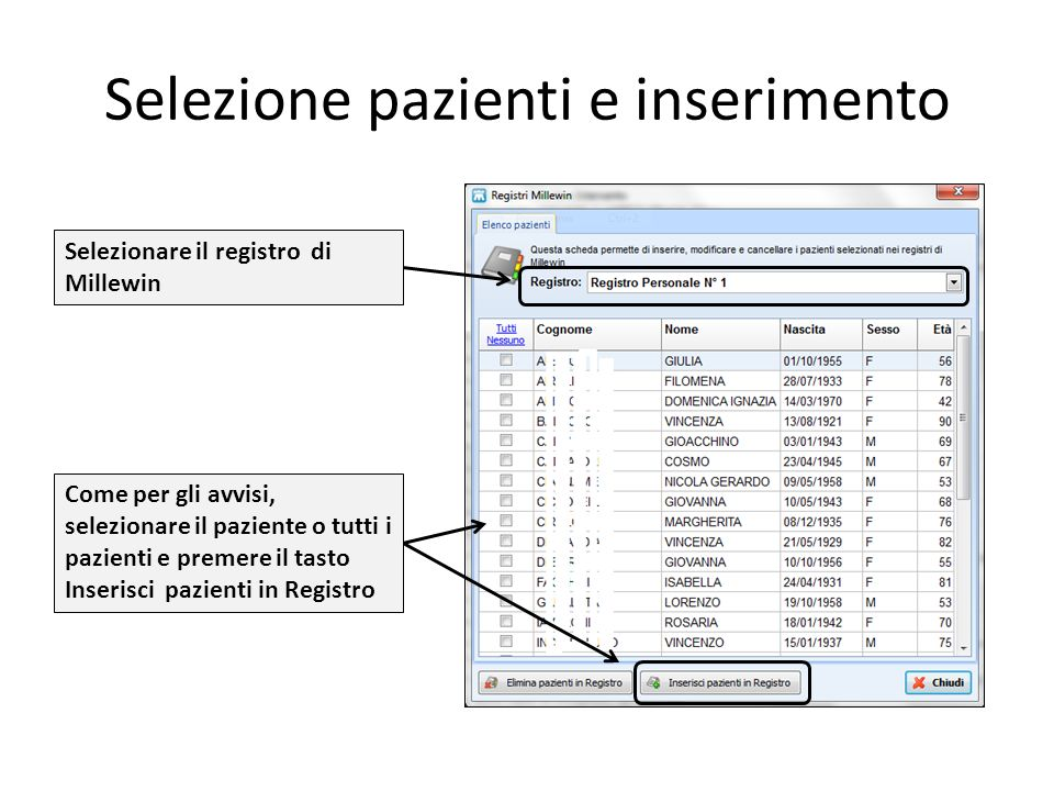 Selezione pazienti e inserimento Come per gli avvisi, selezionare il paziente o tutti i pazienti e premere il tasto Inserisci pazienti in Registro Selezionare il registro di Millewin