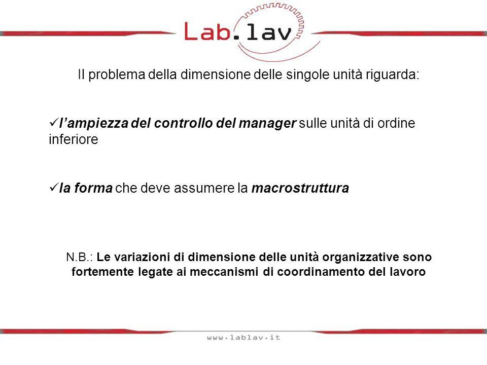 Il problema della dimensione delle singole unità riguarda: lampiezza del controllo del manager sulle unità di ordine inferiore la forma che deve assum