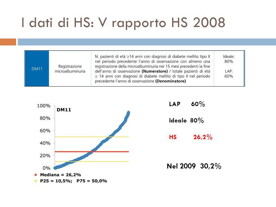 I dati di HS: V rapporto HS 2008 LAP 60% Ideale 80% HS 26,2% Nel 2009 30,2%