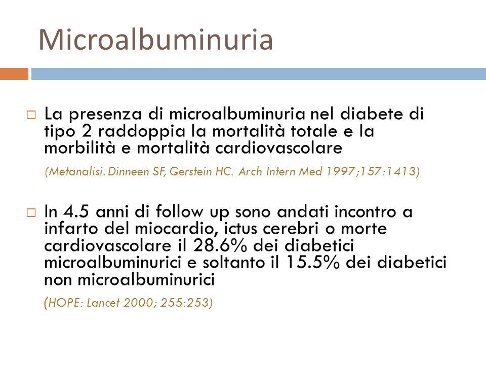 Microalbuminuria La presenza di microalbuminuria nel diabete di tipo 2 raddoppia la mortalità totale e la morbilità e mortalità cardiovascolare (Metan