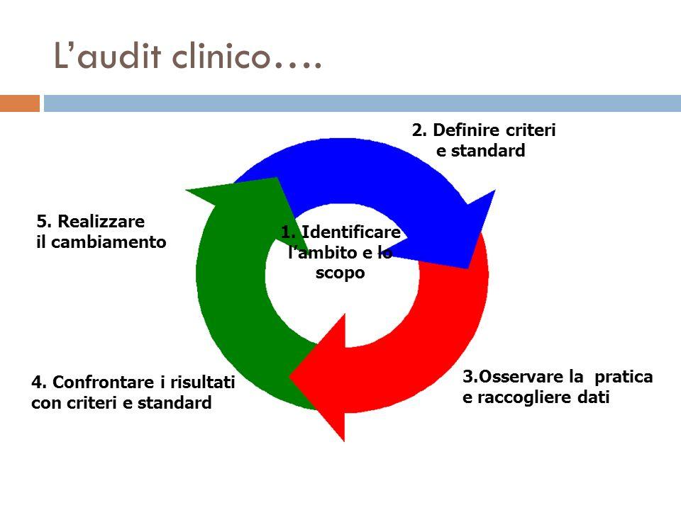 4. Confrontare i risultati con criteri e standard 2. Definire criteri e standard 3.Osservare la pratica e raccogliere dati 1. Identificare lambito e l