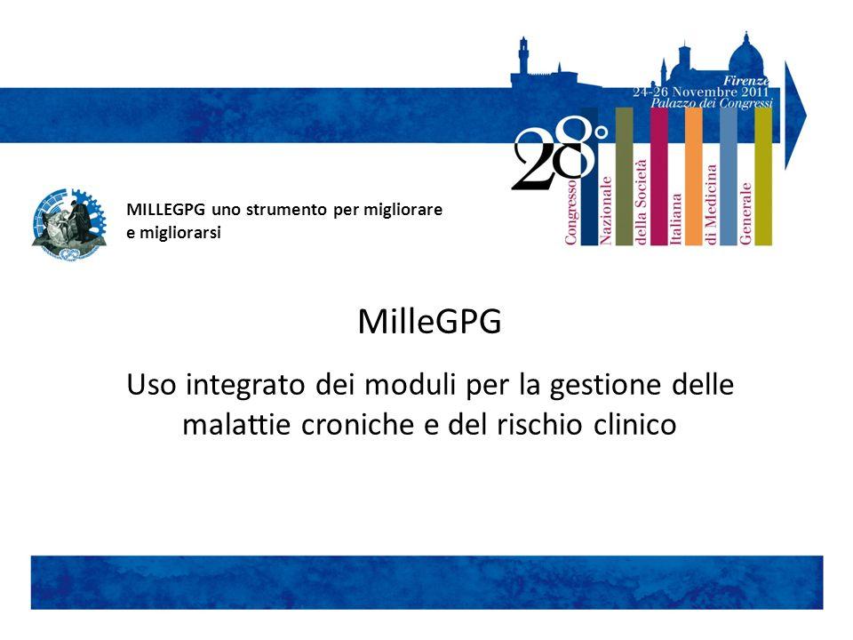 MilleGPG Uso integrato dei moduli per la gestione delle malattie croniche e del rischio clinico MILLEGPG uno strumento per migliorare e migliorarsi
