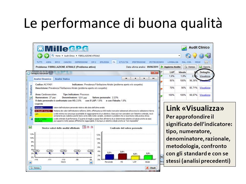 Le performance di buona qualità Link «Visualizza» Per approfondire il significato dellindicatore: tipo, numeratore, denominatore, razionale, metodolog