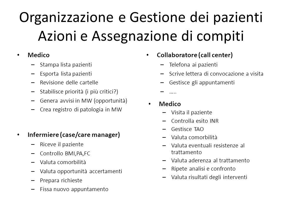 Organizzazione e Gestione dei pazienti Azioni e Assegnazione di compiti Medico – Stampa lista pazienti – Esporta lista pazienti – Revisione delle cart
