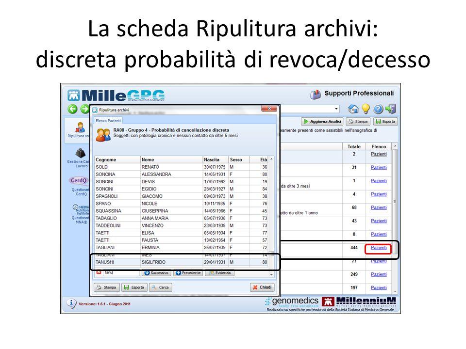 La scheda Ripulitura archivi: discreta probabilità di revoca/decesso