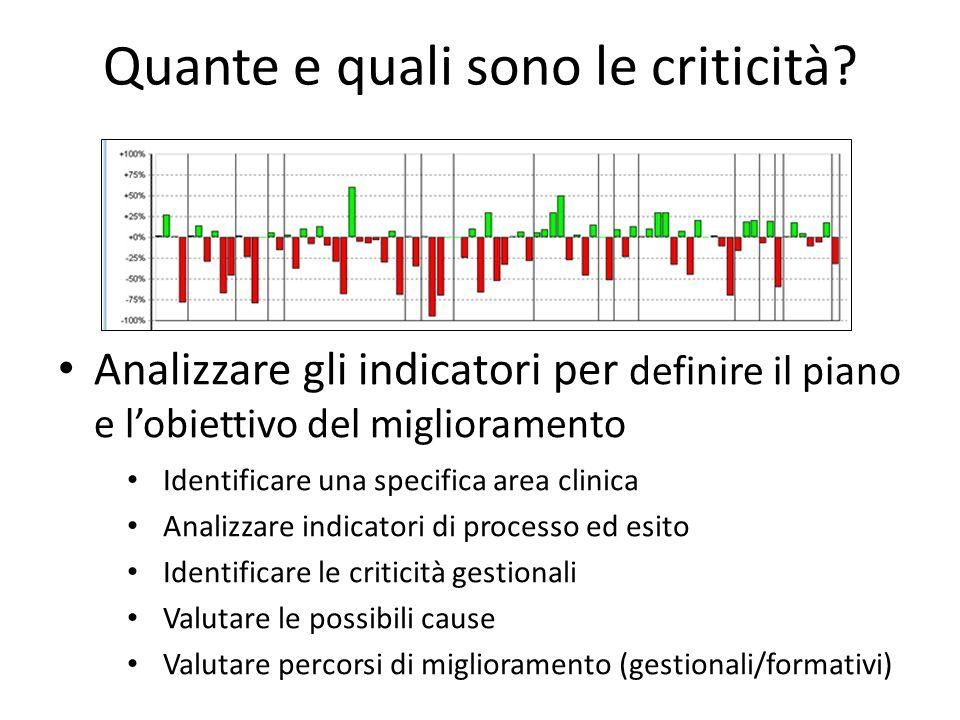 Quante e quali sono le criticità? Analizzare gli indicatori per definire il piano e lobiettivo del miglioramento Identificare una specifica area clini