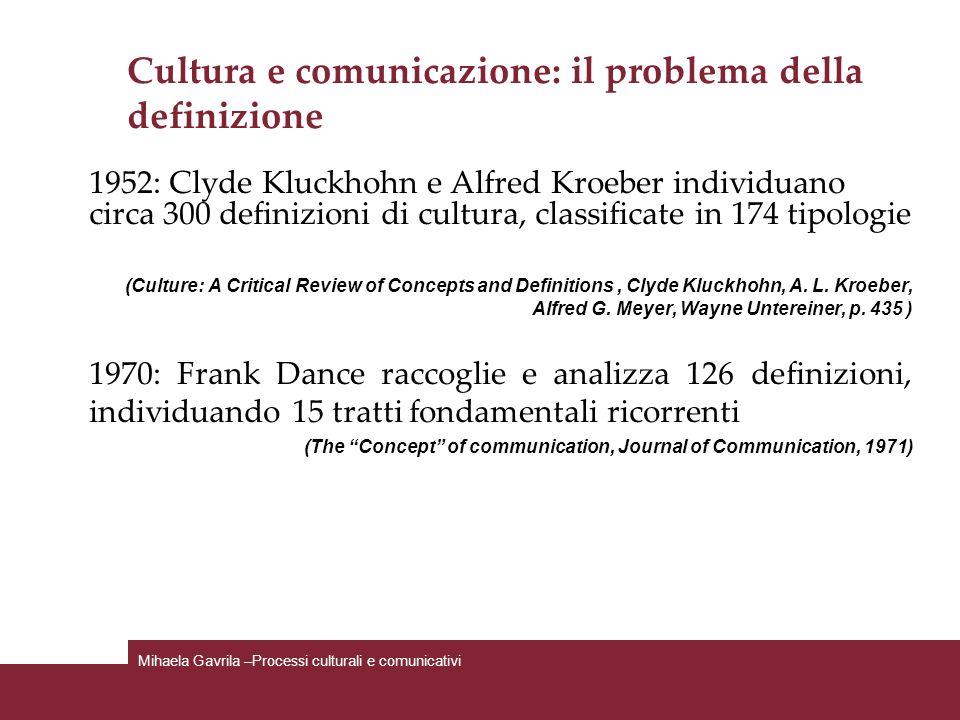 Cultura e comunicazione: il problema della definizione 1952: Clyde Kluckhohn e Alfred Kroeber individuano circa 300 definizioni di cultura, classifica
