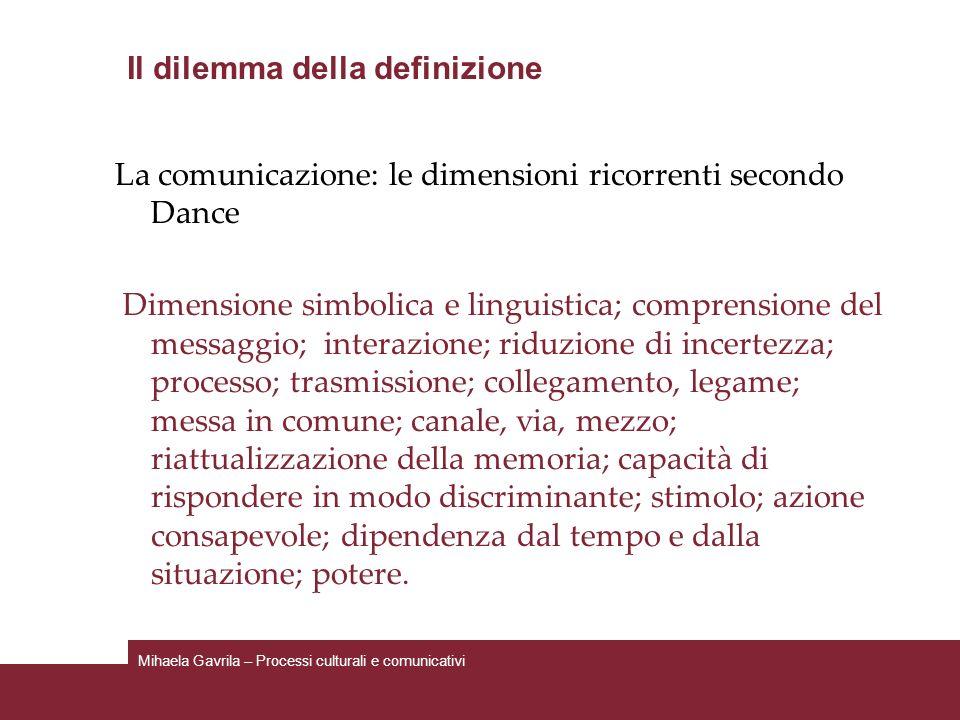 Il dilemma della definizione La comunicazione: le dimensioni ricorrenti secondo Dance Dimensione simbolica e linguistica; comprensione del messaggio;