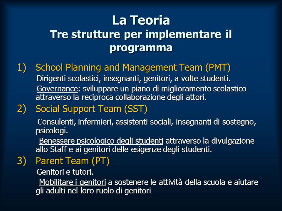 Il metodo Il questionario per misurare limplementazione del programma nelle scuole venne distribuito ogni anno e si componeva di 3 sezioni distinte.