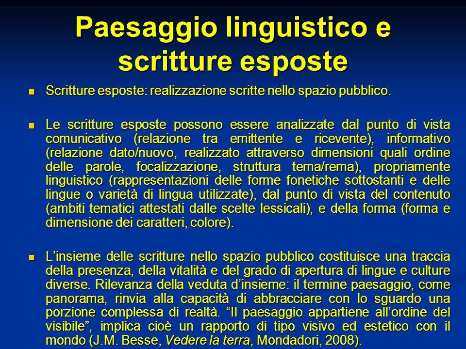 Paesaggio linguistico e scritture esposte Scritture esposte: realizzazione scritte nello spazio pubblico.