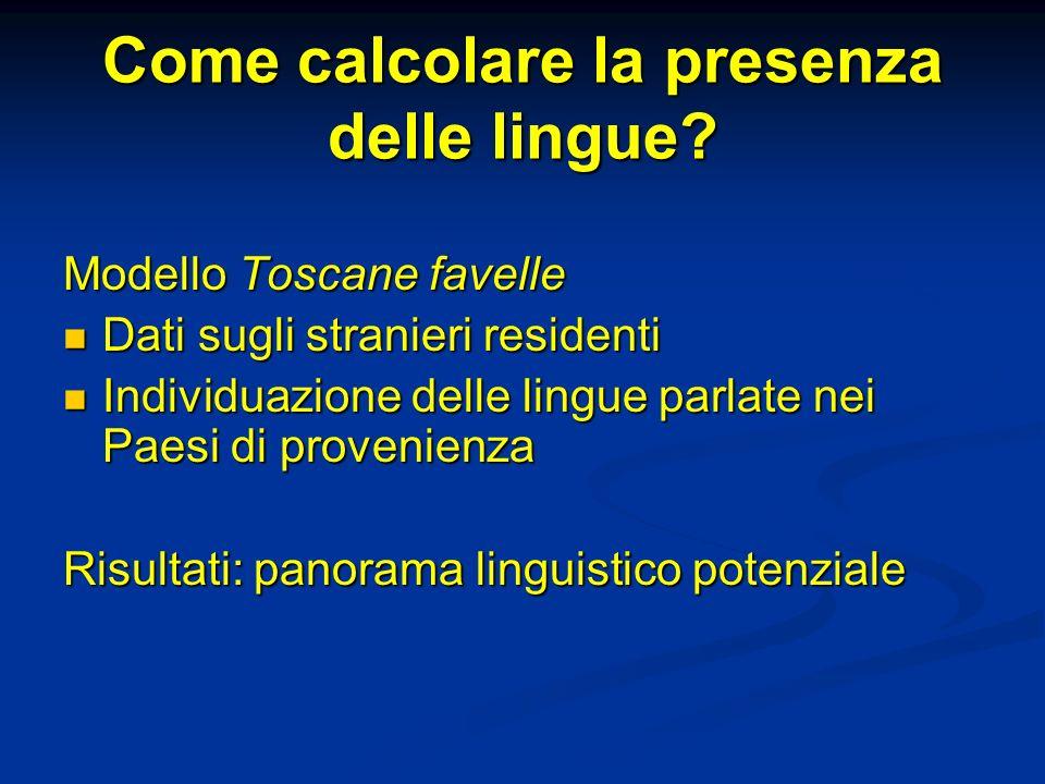 Come calcolare la presenza delle lingue.