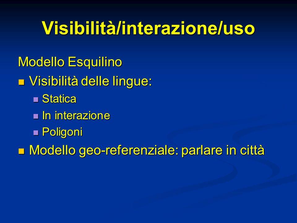 Visibilità/interazione/uso Modello Esquilino Visibilità delle lingue: Visibilità delle lingue: Statica Statica In interazione In interazione Poligoni Poligoni Modello geo-referenziale: parlare in città Modello geo-referenziale: parlare in città