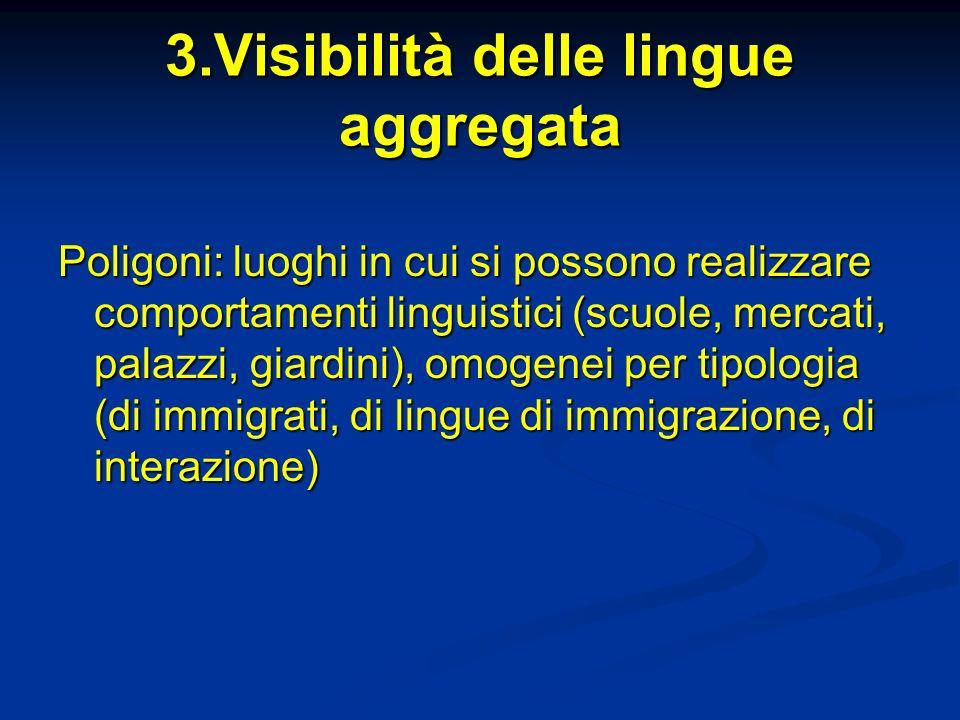 3.Visibilità delle lingue aggregata Poligoni: luoghi in cui si possono realizzare comportamenti linguistici (scuole, mercati, palazzi, giardini), omogenei per tipologia (di immigrati, di lingue di immigrazione, di interazione)