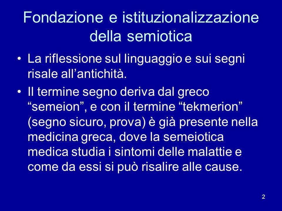 2 Fondazione e istituzionalizzazione della semiotica La riflessione sul linguaggio e sui segni risale allantichità. Il termine segno deriva dal greco