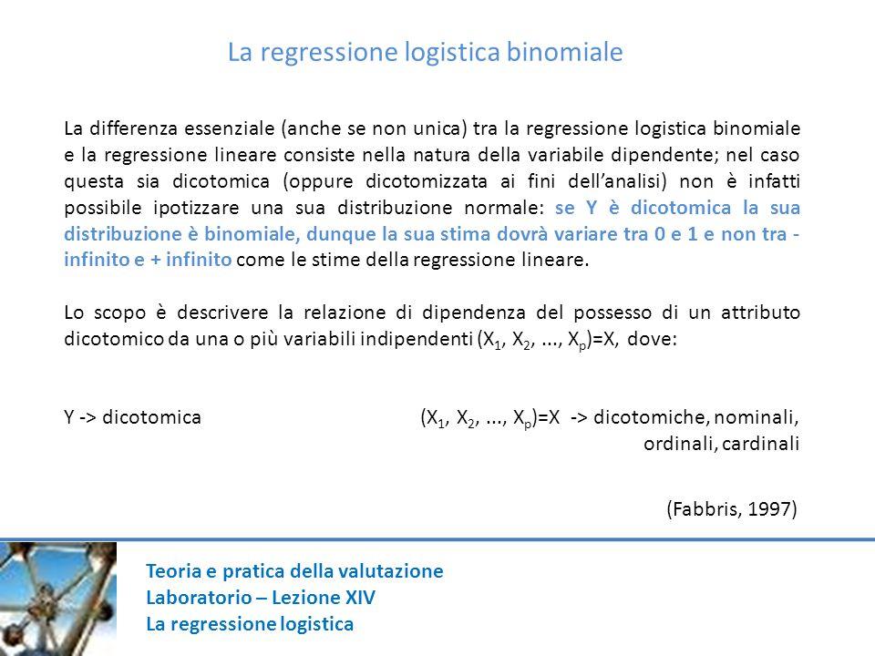Teoria e pratica della valutazione Laboratorio – Lezione XIV La regressione logistica La regressione logistica binomiale La differenza essenziale (anche se non unica) tra la regressione logistica binomiale e la regressione lineare consiste nella natura della variabile dipendente; nel caso questa sia dicotomica (oppure dicotomizzata ai fini dellanalisi) non è infatti possibile ipotizzare una sua distribuzione normale: se Y è dicotomica la sua distribuzione è binomiale, dunque la sua stima dovrà variare tra 0 e 1 e non tra - infinito e + infinito come le stime della regressione lineare.