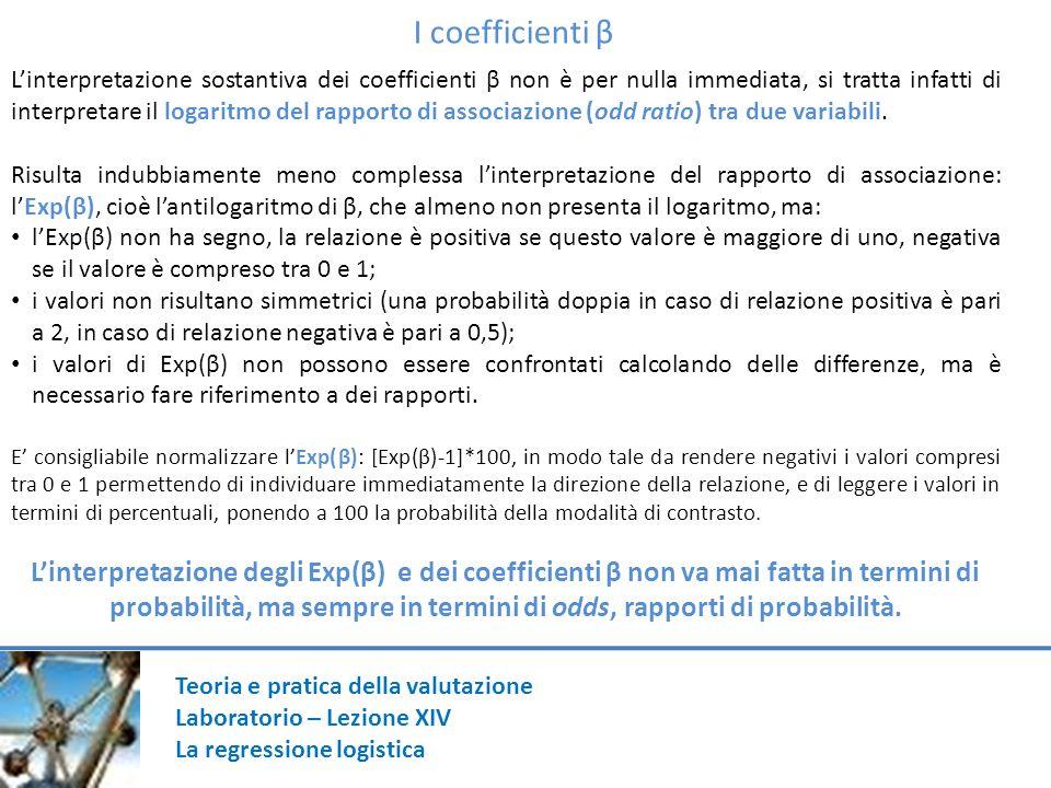Teoria e pratica della valutazione Laboratorio – Lezione XIV La regressione logistica I coefficienti β Linterpretazione sostantiva dei coefficienti β non è per nulla immediata, si tratta infatti di interpretare il logaritmo del rapporto di associazione (odd ratio) tra due variabili.