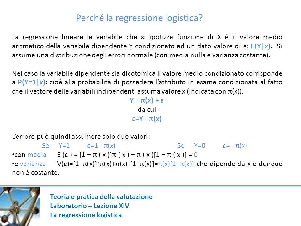 Teoria e pratica della valutazione Laboratorio – Lezione XIV La regressione logistica Sensibilità: (100/(423+508))*508 = 54,56% Specificità: (100/(489+337))*489 = 59,02% λ= [((489+508)-931)/(826)]*100 = 7,99%