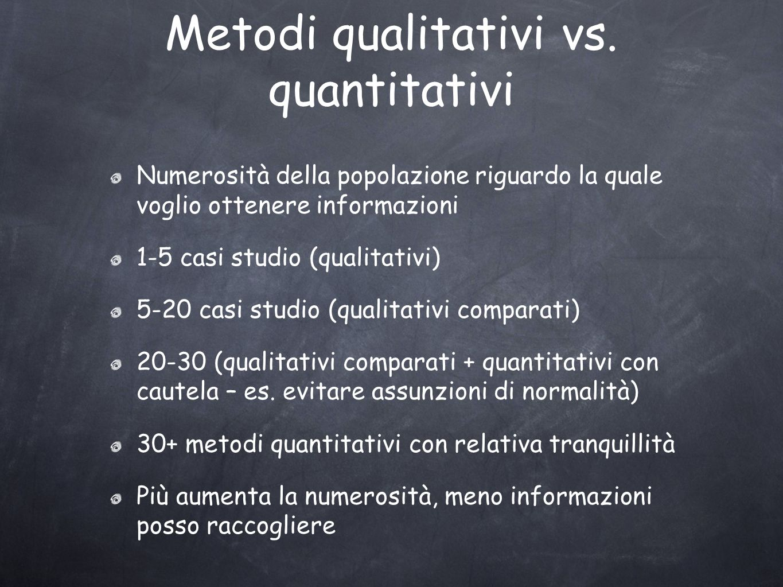 Metodi qualitativi vs.