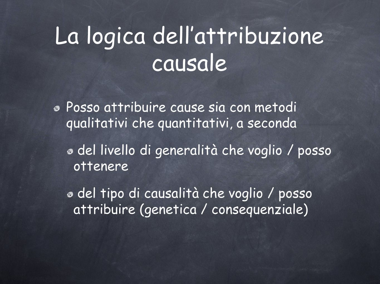 La logica dellattribuzione causale Posso attribuire cause sia con metodi qualitativi che quantitativi, a seconda del livello di generalità che voglio / posso ottenere del tipo di causalità che voglio / posso attribuire (genetica / consequenziale)