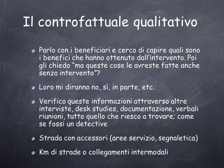Il controfattuale qualitativo Parlo con i beneficiari e cerco di capire quali sono i benefici che hanno ottenuto dallintervento.