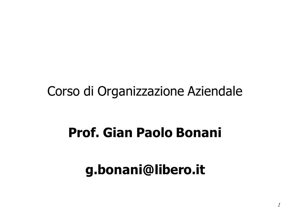1 Corso di Organizzazione Aziendale Prof. Gian Paolo Bonani g.bonani@libero.it