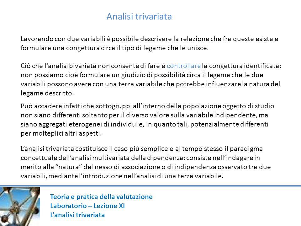 Teoria e pratica della valutazione Laboratorio – Lezione XI Lanalisi trivariata Analisi trivariata Lavorando con due variabili è possibile descrivere