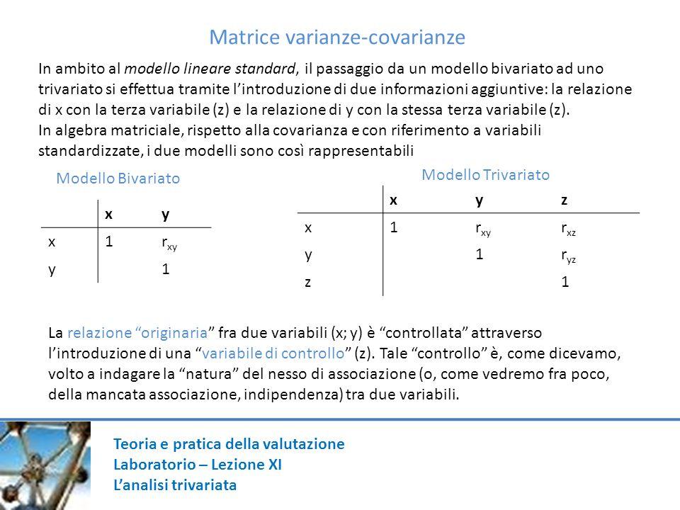 Matrice varianze-covarianze In ambito al modello lineare standard, il passaggio da un modello bivariato ad uno trivariato si effettua tramite lintrodu