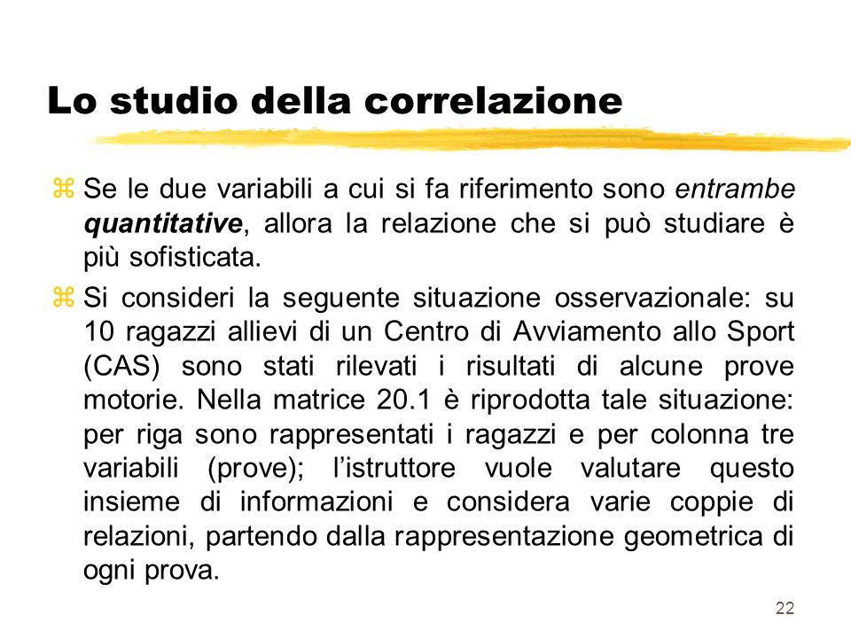 22 Lo studio della correlazione zSe le due variabili a cui si fa riferimento sono entrambe quantitative, allora la relazione che si può studiare è più