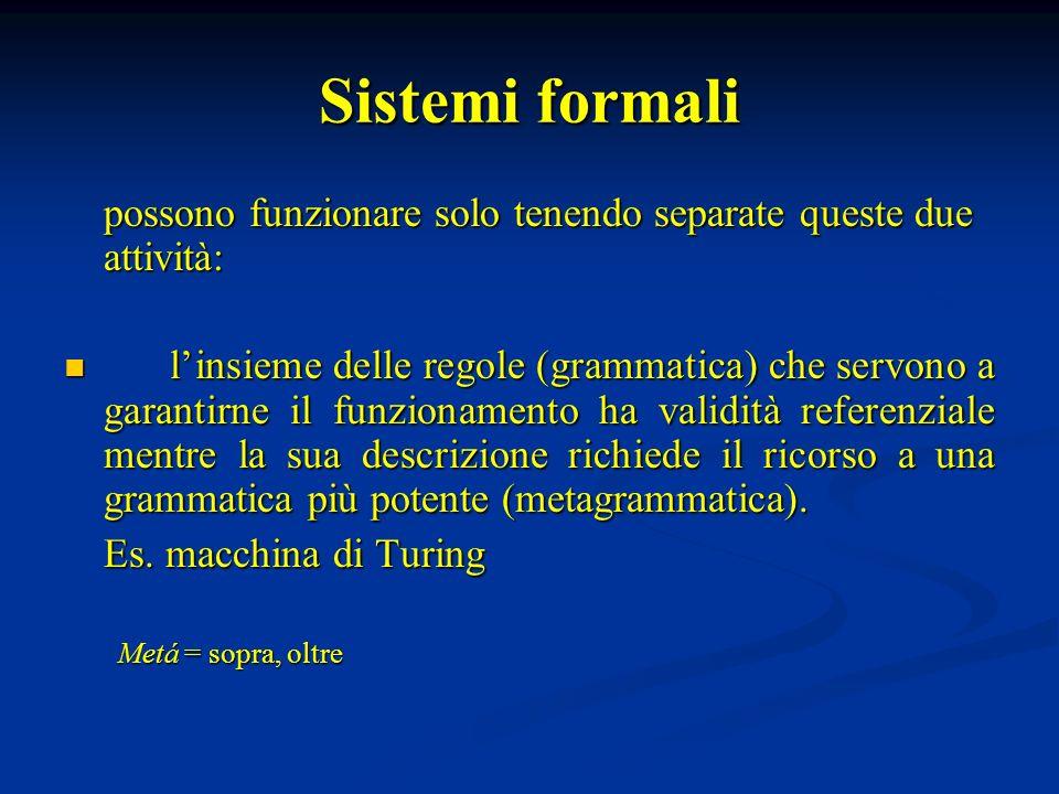 Sistemi formali possono funzionare solo tenendo separate queste due attività: linsieme delle regole (grammatica) che servono a garantirne il funzionam
