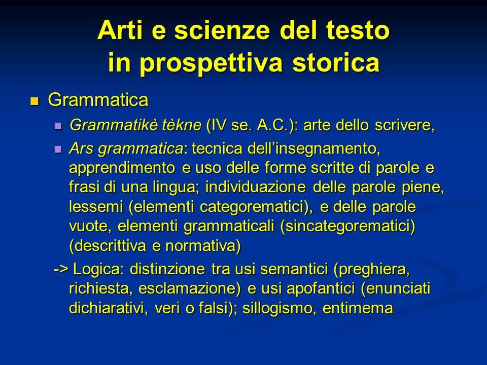Arti e scienze del testo in prospettiva storica Grammatica Grammatica Grammatikè tèkne (IV se. A.C.): arte dello scrivere, Grammatikè tèkne (IV se. A.