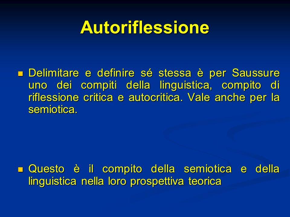 Autoriflessione Delimitare e definire sé stessa è per Saussure uno dei compiti della linguistica, compito di riflessione critica e autocritica. Vale a