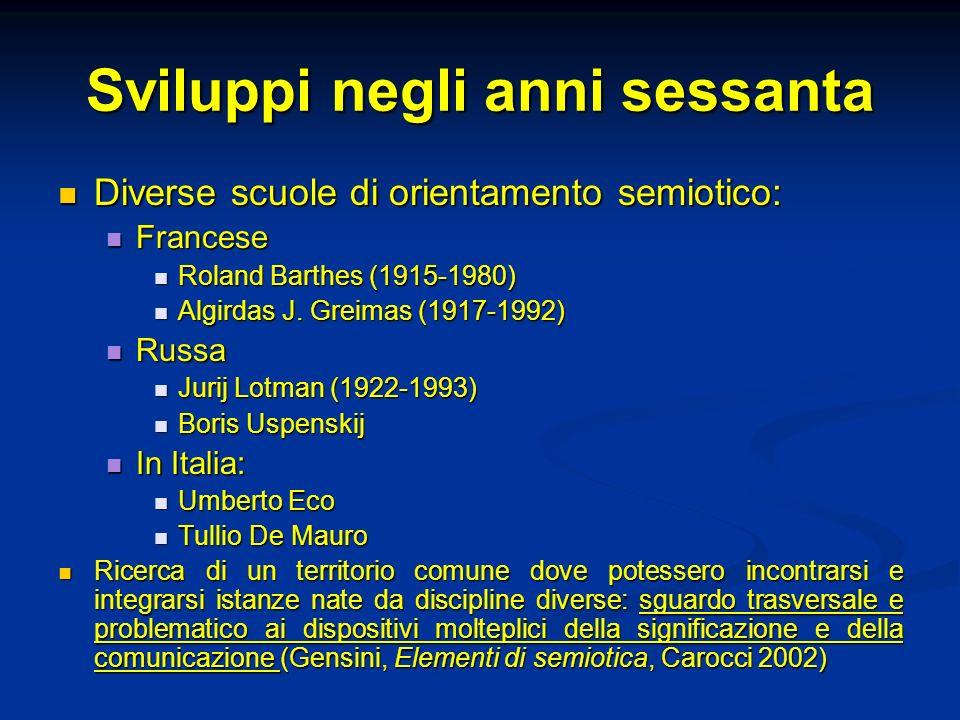 Sviluppi negli anni sessanta Diverse scuole di orientamento semiotico: Diverse scuole di orientamento semiotico: Francese Francese Roland Barthes (191