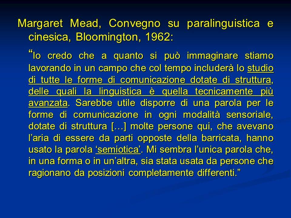 Margaret Mead, Convegno su paralinguistica e cinesica, Bloomington, 1962: Io credo che a quanto si può immaginare stiamo lavorando in un campo che col