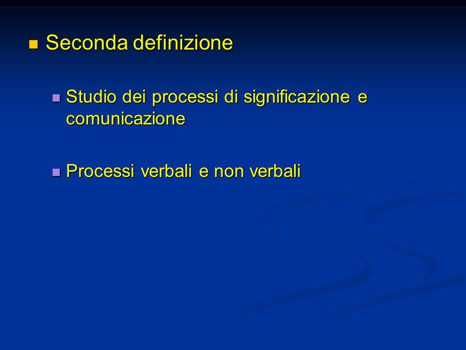 Seconda definizione Seconda definizione Studio dei processi di significazione e comunicazione Studio dei processi di significazione e comunicazione Pr