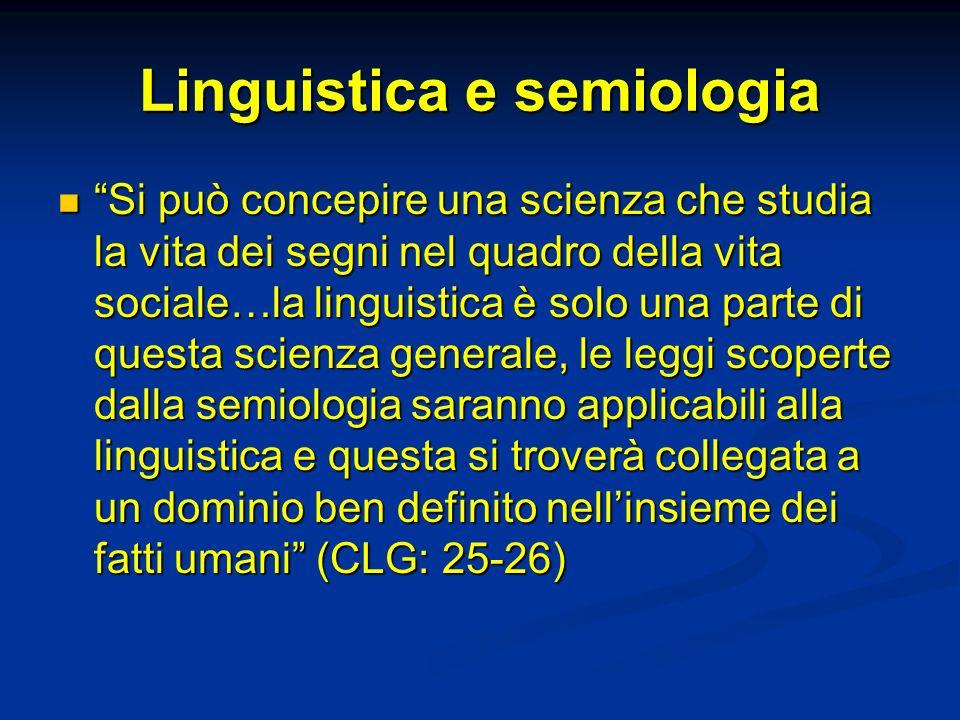 Linguistica e semiologia Si può concepire una scienza che studia la vita dei segni nel quadro della vita sociale…la linguistica è solo una parte di qu