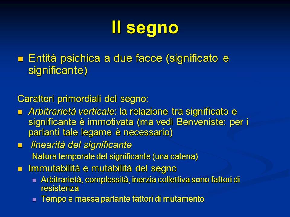 Il segno Entità psichica a due facce (significato e significante) Entità psichica a due facce (significato e significante) Caratteri primordiali del s