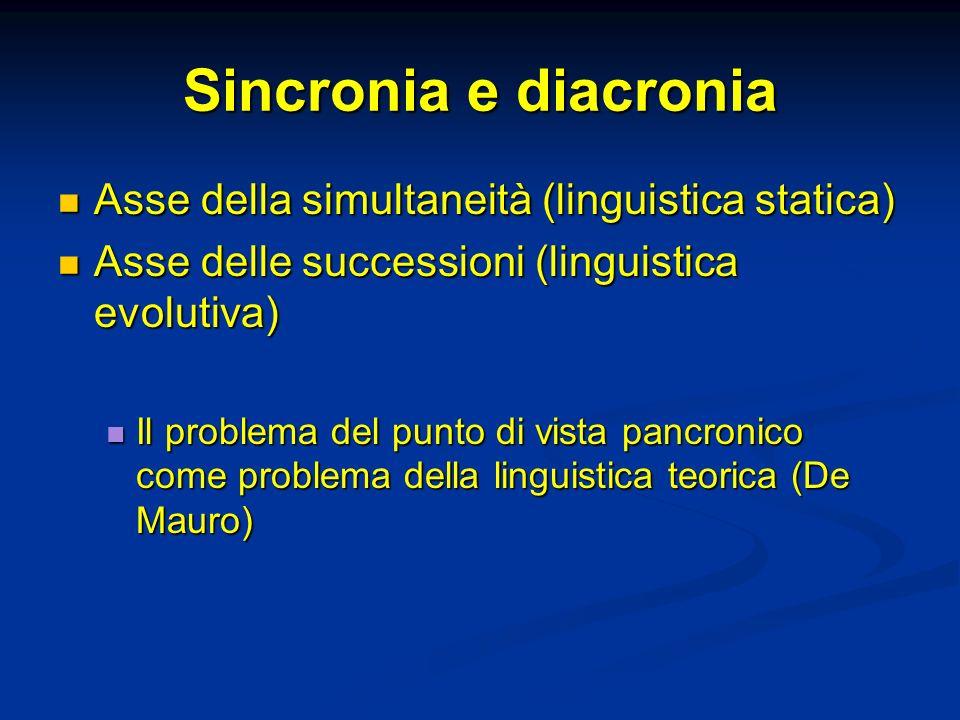 Sincronia e diacronia Asse della simultaneità (linguistica statica) Asse della simultaneità (linguistica statica) Asse delle successioni (linguistica